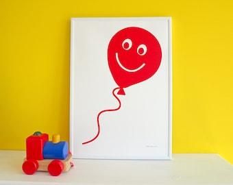 Red Balloon Screen Print, Fun Nursery Art Print, Balloon Kids Wall Art, Cute Fun Screenprint Poster, Children's Bedroom Print, Handprinted