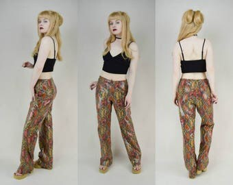 90s Grunge Clubkid Orange Snakeskin Reptile Print Shiny Trousers Pants M
