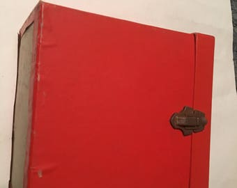 orange red 45 rpm record case holds 60 to 70 records