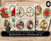 Christmas Digital Downloads - Big Elements #10 Christmas Set # 2 - 3 Pg Instant Download, Christmas Clipart, gift tag template, journal card