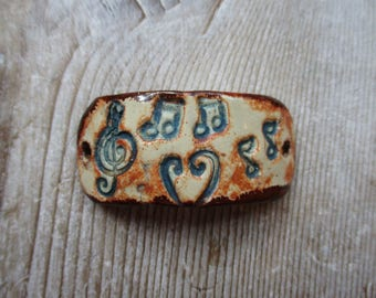Ceramic Bracelet Connector Music Notes Rustic Earthy Funky