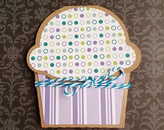ON SALE Gift Card Holder, Polka Dots and Stripe Cupcake