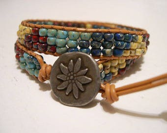 Beaded wrap bracelet,Leather Wrap Bracelet, Seed Bead Bracelet, Boho bracelet - 946