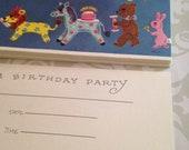 vintage childrens birthday party invitation set of 10, nos, unused, animals, parade, cute
