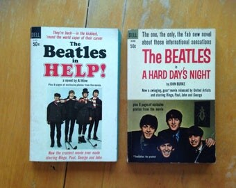 vintage 1964 / 1965 beatles paperback book lot of two - first printing - hard day's night and help!