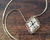 Diamond Rhinestone Pendant, Rhinestone, Gold Tone, 1960s Vintage Jewelry SPRING Sale