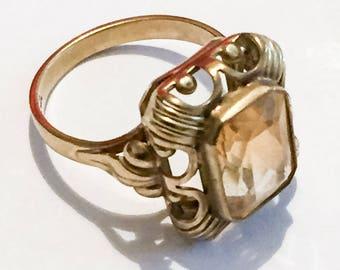 Art Deco Ring, Citrine Ring, 8K Gold, Alternative Engagement Vintage Jewelry SUMMER SALE