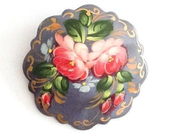 Lacquered Brooch, Russian Art Deco Pin, Pink Roses, Grey, Vintage Jewelry SUMMER SALE