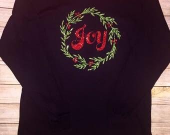 Christmas Joy Wreath long sleeve tshirt, Christmas wreath, Christmas Joy, Christmas glitter wreath