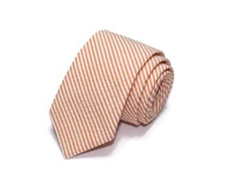 Orange Stripe Seersucker Necktie~Cotton Necktie~Anniversary Gift~Wedding Tie~Mens Gift~Cotton Tie~Mens Tie~Orange Tie