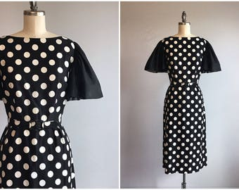 Vintage 1960s Cocktail Dress / 60s Black and White Polka Dot Wiggle Dress with Flutter Sleeves