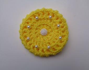 X-Small Bun Cover with Pearls. 24 Colors, Bun Holder, Crocheted Bun Cover, Snood, Ballerina Bun Maker, Ballet, Dance, Gymnastics