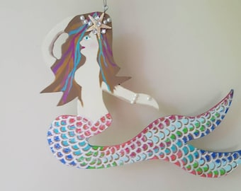 Mermaid Mobile w.FREE VINYL STICKER! She spins 360* Double Sided Custom Made, Both Sides Decorated, You Choose Colors, Name!