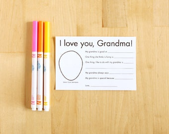 I love you Grandma printable cards - Personalized Grandparent Gifts from Kids - Grandma Gifts - Grandmother Gifts