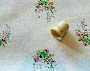 tiny pink, gold and green floral print cotton fabric -- 46 wide by 2 3/4 yards