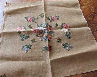 vintage floral and music theme needlepoint