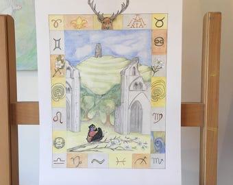 ORIGINAL DRAWING of Glastonbury, Glastonbury Tor, Mother Goddess, Pagan Christian Pilgrimage, Chalice Well, Avalon, King Arthur, Hern the Hu