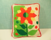 Vintage Flower Needlepoint Pillow
