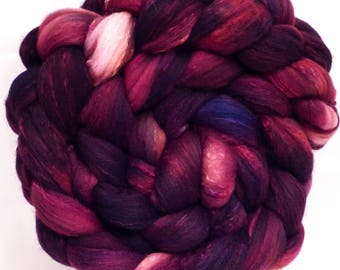 Hand dyed top for spinning -SPECKLED-Q - (5.1 oz.) Organic polwarth /Tussah silk (80/20)