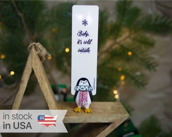 Penguin bookmark. Unusual winter gift for mom, women, teen girl, teacher, coworker, student, granny, child, sister.