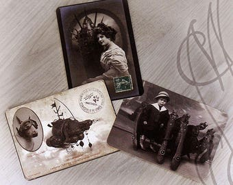 "Trio of Martinefa's Postcards ""Portraits Volumiques"" - 14,8 x 10,5 cm"