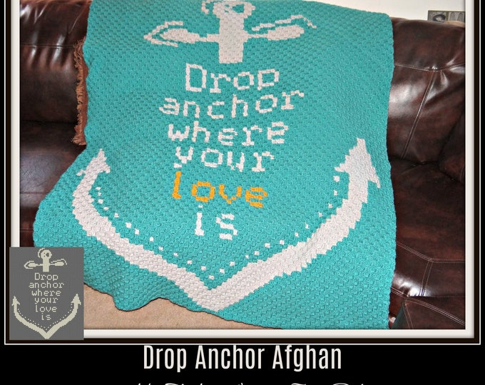 Featured listing image: Drop Anchor Afghan, C2C Graph, Crochet Pattern