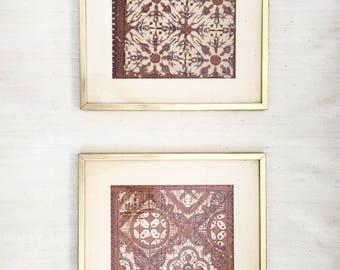 Pair of Framed Vintage Linen Batiks