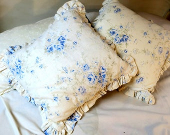 """Shabby Chic PILLOWS ..Simply Shabby Chic by Rachel Ashwell White Linen w Blue flowers and button back  Free ship Cont Usa  ruffles 16 x 16"""""""