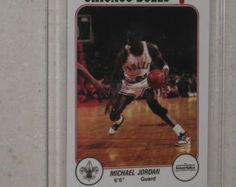 new just in 1985 Interlake Michael Jordan Rookie card in a screwdown case
