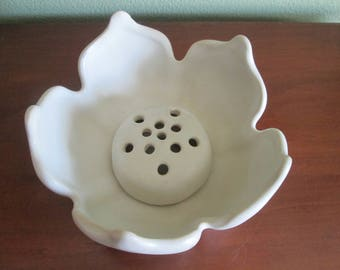Vintage Van Briggle Lotus Flower Bowl with Flower Frog Matte White 2 Piece Set