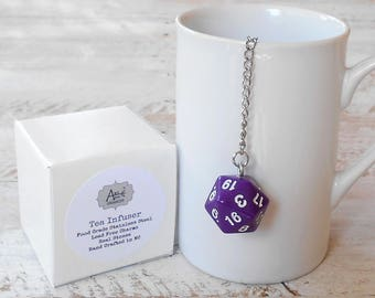 Tea Infuser, Gaming Dice Full Size, D20, Dungeons and Dragons, Pathfinder, Geek, Nerd, Gamer Infuser, Purple D20, Gift for Him, Gift for Her