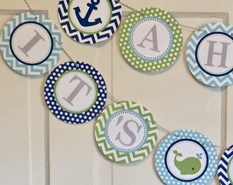 """PREPPY NAUTICAL Baby Shower """"Ahoy It's a Boy"""" Banner or Birthday Party Navy Green- Party Packs Available"""