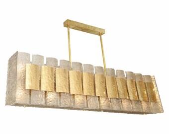 brass murano glass rectangular chandelier