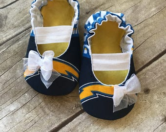 San Diego Chargers Baby Mary Jane Shoes with Bow