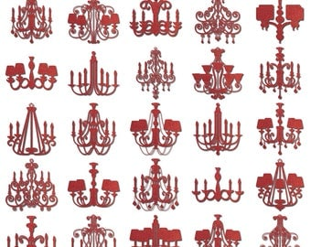 Ruby Red Glitter Chandeliers (28 Digital Clip Art Elements - PNG) Princess Wedding Birthday Party Invitation Sparkle Textured Embellishment