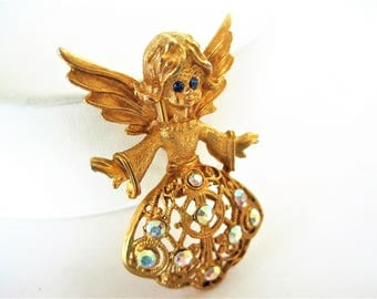 Angel Christmas Brooch, Rhinestone Angel, Blue Eyed Angel