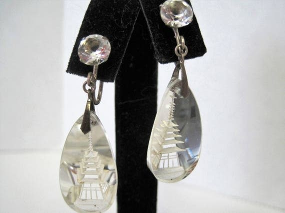 Rock Crystal Earrings -  Reverse Carved Intaglio - Asian Pagoda -   Sterling Silver - 40's Rock Crystal Jewelry
