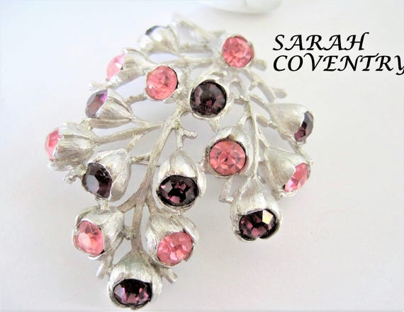 Sarah Coventry Purple Pink Brooch - Wisteria Pattern - 1962 Rhinestone Pin