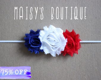 Patriotic Red White and Blue Headband/ Shabby Flower Headband/ Newborn Headband/ Baby Headband/ Flower Girl/ Wedding/ Photo Prop