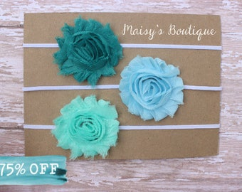 Teal, Sky Blue and Seafoam Green Shabby Flower Headband Set/ Headband/ Newborn Headband/ Baby Headband/ Wedding/ Photo Prop/ Set of 3
