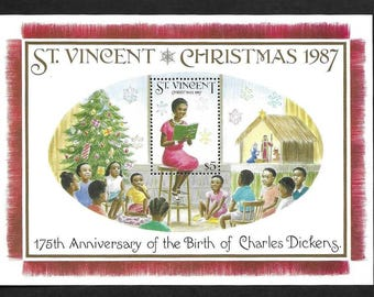Christmas Vintage Postage Stamps - Souvenir Sheet - St. Vincent - SC # 1065 - Collectible, Ideal for Framing - MNH