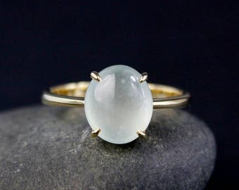 FLASH SALE Icy Sage Green Type A Jadeite Ring - 18kt Yellow Gold - Solitaire Ring