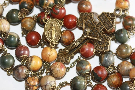 Huge 10mm Picasso and Bronze Handmade Rosary Handmade in  Oklahoma 5 decade Pardon Crucifix