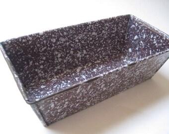 Vintage Plum Enamelware Graniteware Bread Loaf Pan