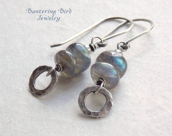 Labradorite Earrings with Hammered Fine Silver Circle Drops, Grey Blue Gemstone Sterling Silver Jewelry,  Summer Gemstone Jewelry