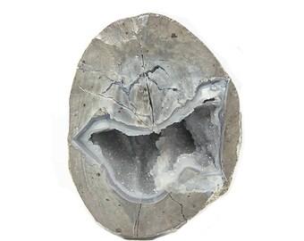 Thunder Egg Geode Blue Agate Quartz Druzy in Rhyolite, mined in Utah Cut and Polished, Gemstone Rock, Geo Gem Geode Stone
