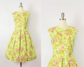 vintage 50s dress / 1950s bright floral sundress / fit and flare summer dress / pleated voile dress / lime green floral dress / XL 50s dress