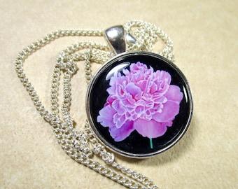Peony Pendant, Pink Peony Jewelry, Peony Necklace, Pink Peony Gifts, Peony Wedding Pendant, Peony Bridal Pendant, Peony Bridesmaids Gifts