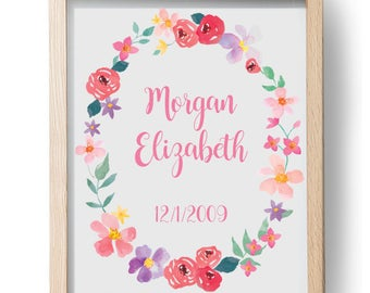 Custom Baby Girl Birthdate Nursery Decor, Personalized Name and Date, pretty Pink watercolor Border