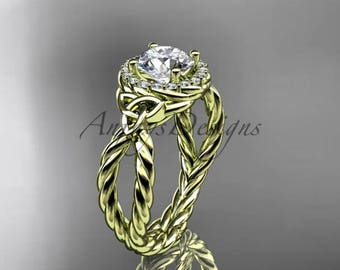 14kt yellow gold rope halo celtic triquetra engagement ring RPCT9127